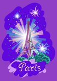 Vector illustration of the Eiffel tower at night with fireworks. Vector illustration on the theme of a trip to Paris with the inscription Royalty Free Stock Images