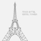 Vector illustration of Eiffel tower in polygonal style. Image of tower in blueprint style for postcards, prints or other design. World famous landmark Royalty Free Stock Photography