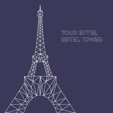 Vector illustration of Eiffel tower in polygonal style. Schematicl image of tower in blueprint style for postcards, prints or other design. World famous Royalty Free Stock Photos
