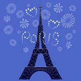 Vector illustration of the Eiffel Tower and romantic firework. vector illustration