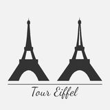 Vector illustration of Eiffel tower silhouette Royalty Free Stock Images