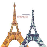 Vector illustration of Eiffel towers in low poly style. Polygonal image of towers in two contrast color groups for postcards, prints or other design. World royalty free illustration
