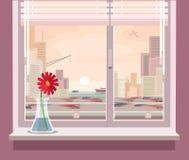 Vector Illustration einer Ansicht vom Fenster Stockfoto