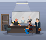 Vector Illustration in einer flachen Art, Raum für das Ausfragen eines Verdächtigen in einem Polizeirevier Stockbild
