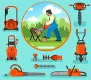 Vector Illustration in einer flachen Art, Satz Ausrüstung für einen Garten und Park Lizenzfreie Stockbilder