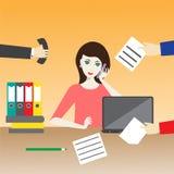 Vector Illustration einer Frau im Büro Lizenzfreie Stockfotos