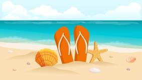Vector Illustration einer Reisepostkarte, -fliegers, -strandes, -meeres, -oberteile und -zusammensetzung der Schuhe Lizenzfreie Stockbilder