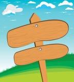 Vector Illustration einer schönen ländlichen Szene und des Holzschildes Hölzerne Beschaffenheit auf Gebirgs- und Himmelhintergrun Lizenzfreie Stockfotografie