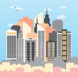 Vector Illustration einer Stadt an einem sonnigen Tag Stockbild
