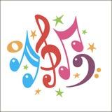 Vector Illustration eines abstrakten Hintergrundes mit bunten Musikanmerkungen Stockfotografie