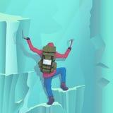 Vector Illustration eines Bergsteigers, der zur Spitze einer Wintersteigungssteigung klettert stock abbildung