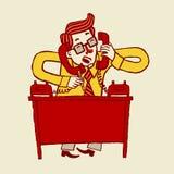 Vector Illustration eines beschäftigten betonten heraus Karikaturgeschäftsmannes, der am Telefon spricht Lizenzfreies Stockfoto