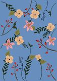 Vector Illustration eines blauen Hintergrundes mit Blumen und Blättern stockfoto