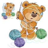Vector Illustration eines braunen Teddybären, der eine Stricknadel in seiner Tatze und in den Threads verwirrt hält Lizenzfreie Stockfotografie