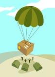 Vector Illustration eines Care-Pakets, das durch Fallschirm t aus der Luft abgeworfen ist Stockfoto