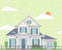 Vector Illustration eines gemütlichen Hauses der weißen Familie Stockfotos