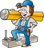 Vector Illustration eines glücklichen Boden-und Teppich-Mannes Lizenzfreie Stockbilder