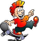 Vector Illustration eines glücklichen kühlen Schlittschuhläufer-Jungen Stockbilder