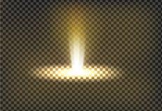 Vector Illustration eines goldenen hellen Strahls, ein Lichtstrahl lizenzfreie abbildung