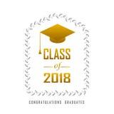 Vector Illustration eines Grafikgoldes der Abschlussklasse im Jahre 2018 Lizenzfreie Stockbilder