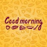 Vector Illustration eines guten Morgens für Postkarten, Poster Nahtloser Hintergrund, Muster Stockbild