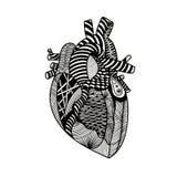 Vector Illustration eines Herzens in der grafischen abstrakten Art Lizenzfreie Stockfotos