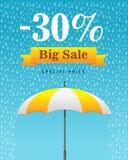 Vector Illustration eines Hintergrundes für glücklichen Monsun-Verkauf Stockfoto
