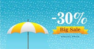 Vector Illustration eines Hintergrundes für glücklichen Monsun-Verkauf Lizenzfreies Stockfoto