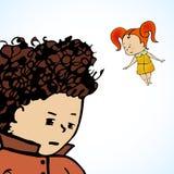 Vector Illustration eines Jugendlichen und der Mädchenträume Lizenzfreies Stockfoto