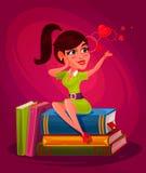 Vector Illustration eines jungen Mädchens, das auf den Büchern sitzt Lizenzfreies Stockbild