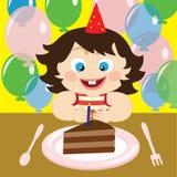 Vector Illustration eines Kindes mit Kuchen auf dem Geburtstag Lizenzfreie Stockbilder