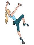 Vector Illustration eines kletternden Mädchens in der Turnhalle Stockbilder