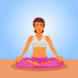 Vector Illustration eines Mädchenyoga im Lotussitz Lizenzfreie Stockfotografie