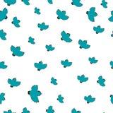 Vector Illustration eines Musters mit blauen Vögeln Lizenzfreie Stockbilder