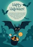 Vector Illustration eines netten Fliegenschlägers, der einen Eimer mit Halloween-Süßigkeit trägt Stockfoto