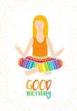 Vector Illustration eines nettes Mädchen-übenden Yoga nachdenkliche Haltung des Lotos Schablone für Designkarten, Notizbuch stock abbildung
