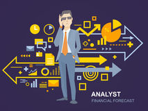 Vector Illustration eines Porträts des Analytikermannes in einer Jacke Han Lizenzfreie Stockbilder
