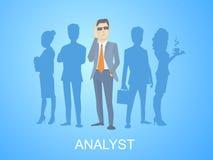 Vector Illustration eines Porträts des Analytikermannes in einer Jacke Han Lizenzfreies Stockfoto