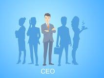 Vector Illustration eines Porträts des Führers eines Geschäftsmannes Lizenzfreies Stockfoto