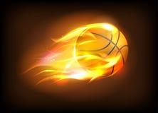 Vector Illustration eines realistischen Basketballballs in einer brennenden Flamme Stockfoto