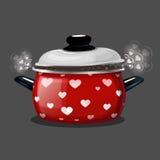 Vector Illustration eines roten Topfes, Dampf herauskommt aus ihn in Form von Herzen Stockfoto