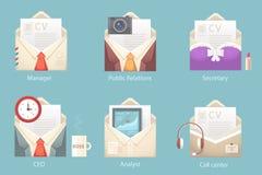 Vector Illustration eines Satzes Charaktere des unterschiedlichen Umschlags Lizenzfreies Stockbild