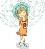 Vector Illustration eines schönen Modemädchens im netten Kleid, gestreifter Hut mit Tasche Bezaubernde Dame auf weißem Hintergrun Lizenzfreies Stockbild