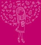 Vector Illustration eines schönen Modemädchens im netten Kleid mit Tasche Bezaubernde Dame auf purpie Hintergrund Stockbild
