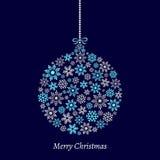 Vector Illustration eines Weihnachtsballs, der von den Schneeflocken gemacht wird Lizenzfreie Stockfotografie