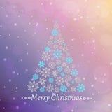 Vector Illustration eines Weihnachtsbaums, der von den Schneeflocken gemacht wird Lizenzfreies Stockbild