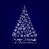 Vector Illustration eines Weihnachtsbaums, der von den Schneeflocken gemacht wird Lizenzfreies Stockfoto