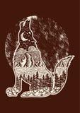 Vector Illustration eines Wolfschattenbildes eines dunklen Waldes Lizenzfreies Stockfoto