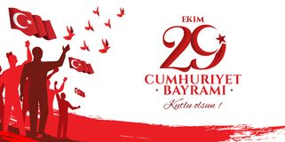Vector illustration 29 ekim Cumhuriyet Bayrami. Kutlu olsun, Republic Day Turkey. Translation: 29 october Republic Day Turkey and the National Day in Turkey Royalty Free Stock Photo