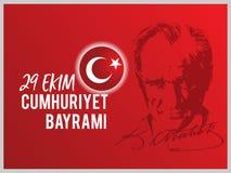 Vector illustration 29 ekim Cumhuriyet Bayrami, Republic Day Turkey.  Stock Photo